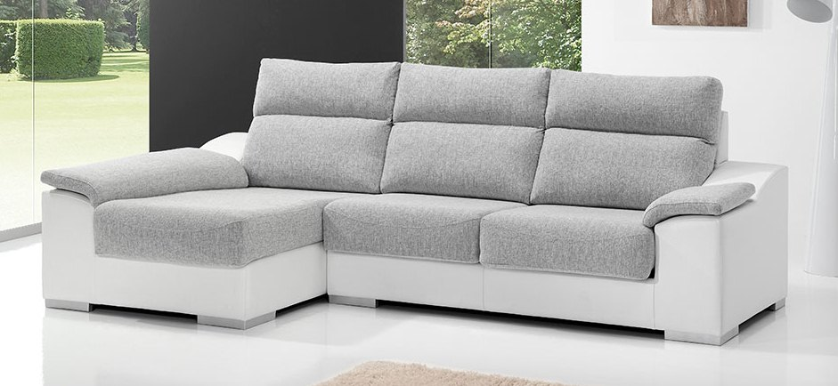 Sofá con chaise longue, extraible y abatible